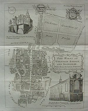 Bassishaw - Cole's 1755 map of Bassishaw ward.
