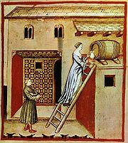 illustration médiévale du taccuino sanitatis montrant le soutirage du vinaigre.A