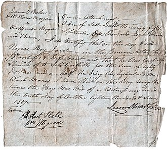 "Treatment of slaves in the United States - Bill of sale for the auction of the ""Negro Boy Jacob"" for ""Eighty Dollars and a half"" to satisfy a money judgment against the ""property"" of his owner, Prettyman Boyce. October 10, 1807"