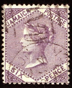 Jamaican pound - Jamaican six-pence stamp, c. 1860