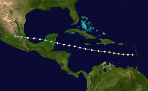1866 Atlantic hurricane season - Image: 1866 Atlantic hurricane 2 track