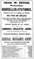 1878 Sever advert Cambridge Massachusetts.png