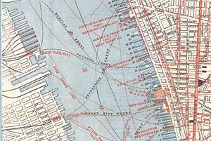 Desbrosses Street Ferry - Map from 1879 of the Pennsylvania Railroad's Desbrosses Street Ferry and the Jersey City Ferry routes.