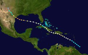 1886 Indianola hurricane - Image: 1886 Indianola hurricane track