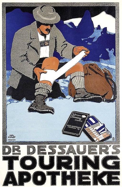 1910 circa Carl Kunst, Dr. Dessauer's Touring Apotheke, Wilhelm Natterer, München, Lithographie circa 76 x 50 cm Hugo Bestehorn, Magedburg