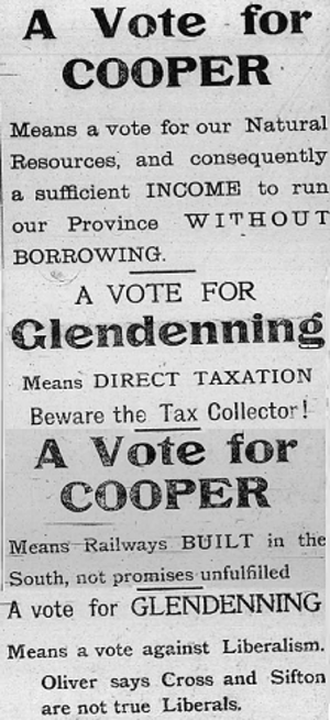 Alberta general election, 1913 - A ad that appeared in the Nanton News 10 April 1913 effectively highlights campaign issues, the ad was run by Conservative J.T. Cooper to attack his opponent Liberal John Glendenning