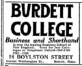1916 Burdett College advert Boston.png