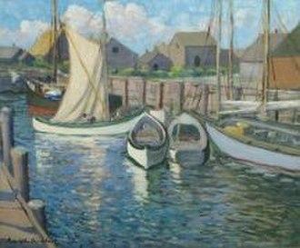 """Louise Upton Brumback - Louise Upton Brumback, At the Wharf, Cape Ann, Massachusetts, 1917, oil on canvas, 25"""" x 30"""""""