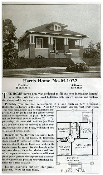 Kit house - A modest bungalow-style kit house plan offered by Harris Homes in 1920