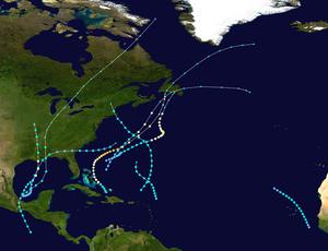 1923 Atlantic hurricane season - Image: 1923 Atlantic hurricane season summary map
