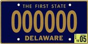 1969 Delaware license plate 000000 sample