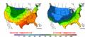 2002-10-05 Color Max-min Temperature Map NOAA.png