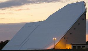 Eglin AFB Site C-6 - The 45° angled side of the transmitter/receiver building at Eglin AFB Site C-6 faces southward in a direction that intercepts the 90 minute circular orbit altitude near the equator.
