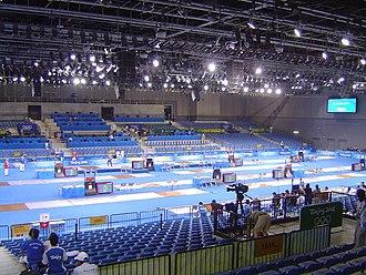 Modern pentathlon at the 2008 Summer Olympics - Image: 2008 Olympic Modern penthalton fencing