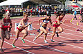 2013 IPC Athletics World Championships - 26072013 - Alicja Fiodorow of Poland, Styliani Smaragdi of Greece, Megan Absten of USA during the Women's 100m - T46 first semifinal.jpg