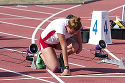 2013 IPC Athletics World Championships - 26072013 - Alicja Fiodorow of Poland preparing for the Women's 100m - T46 first semifinal.jpg