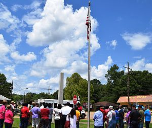 Kentwood, Louisiana - Kentwood residents observe a noontide Day of Prayer in front of the Town Hall during 2015.