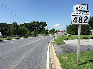Maryland Route 482 - View west along MD 482 in Hampstead