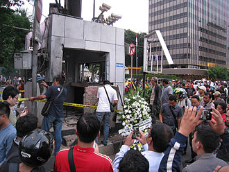 2016 Jakarta attacks - Police post damaged by suicide bomb attack in front of the Sarinah mall