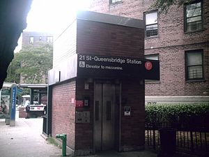 21st Street–Queensbridge (IND 63rd Street Line) - Elevator entrance