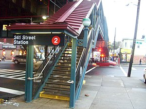 Wakefield–241st Street (IRT White Plains Road Line) - The southeast entrance at 241st Street