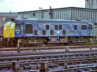 British Rail Class 25 - 25047 of the 25/1 subclass outside Manchester Victoria in 1980