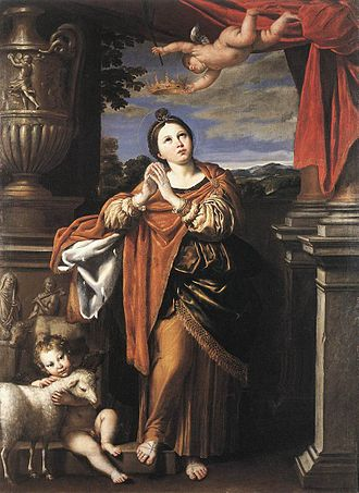 St Agnes, Cornwall - Domenichino, Saint Agnes, c. 1620, Royal Collection, Windsor Castle