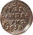 3 Pfennige, Landesdenkmalamt Berlin, Ausgrabung U5, 541b, c, d – 1239, Vorderseite.jpg