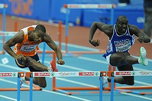 2009 European Athletics Indoor Championships – Men's 60 metres hurdles - Gregory Sedoc (left) and Ladji Doucouré in the final of the event.