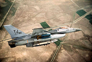 612th Tactical Fighter Squadron - F-16A 81-0790 from the 612th TFS carrying Mark 82 bombs on its wing pylons and an AN/ALQ-131 ECM pod on the centerline over the Konya Range on 7 May 1986.