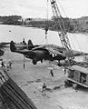 6th Night Fighter Squadron P-61 being unloaded at Guadalcanal.jpg