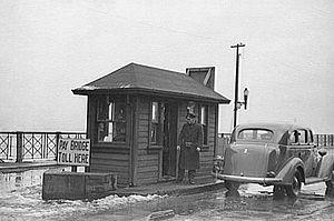 Toll bridge - Toll booth at Mississippi River Bridge at St. Louis, Missouri  U.S. Library of Congress