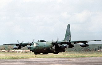 17th Special Operations Squadron - An HC-130 taxiing on the runway at Chittagong, 30 April 1991 after arrival to support Operation Sea Angel