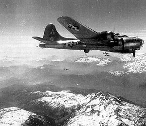 5th Air Division - B-17F of the 97th Bomb Group over the Alps