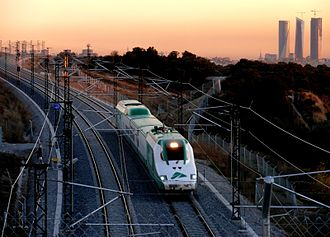 Madrid–León high-speed rail line - Rail lab (ADIF series 330) in El Goloso (Madrid) heading towards Colmenar Viejo eleven days before the opening of the line.