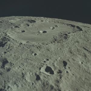 Van de Graaff (crater) - Oblique view of Van de Graaff from Apollo 17. NASA photo.