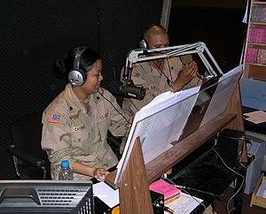 American Forces Network - AFN Iraq on-air radio studio. Baghdad, Iraq (April 2004).
