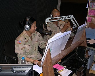 American Forces Network - AFN Iraq on-air radio studio. Baghdad, Iraq (April 2004).
