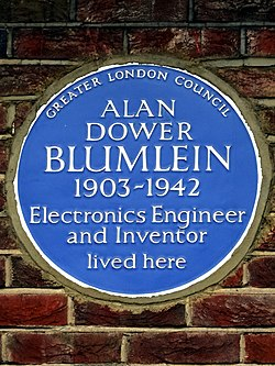 Alan dower blumlein 1903 1942 electronics engineer and inventor lived here