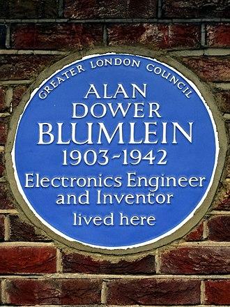 Alan Blumlein - Blue plaque at Blumlein's former home in Ealing