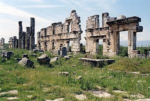 Apamea, Syria - Houses and shops along the Colonnade street, Apamea in 2002