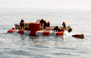 Mini-submarine AS-28 Priz after surfacing in the Bering Sea
