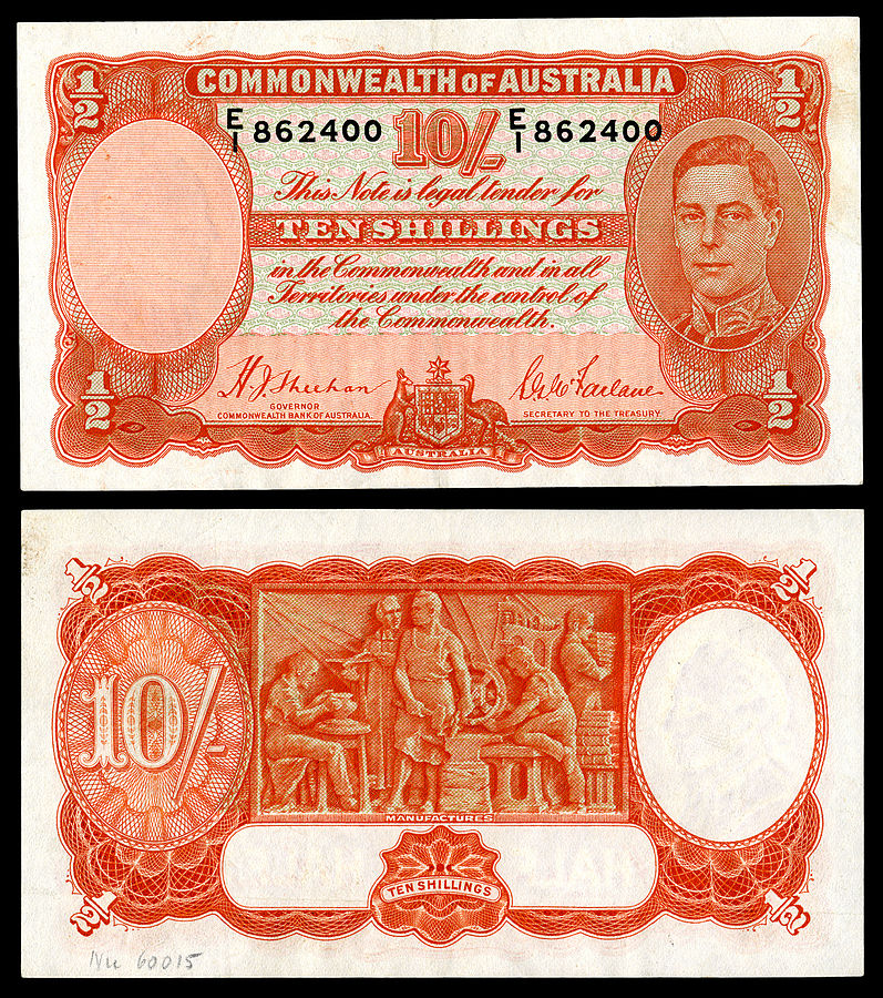 Commonwealth Bank of Australia ten-shilling note, showing both sides of the note