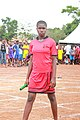 A Female Athlete. Senior female student as she prepares for a 400 meters relay race 03.jpg