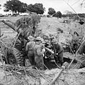 A camouflaged 5.5-inch gun of 'D' Troop, 111 Battery, 80th Medium Regiment (Scottish Horse) in action at Anzio, Italy, March 1944. NA12734.jpg