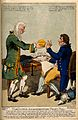 A doctor presenting a patient with a large pill; satirizing Wellcome V0011308.jpg