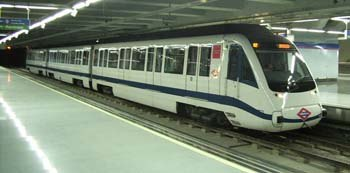 A modern metro train in Colombia station of Madrid metro - July 2002