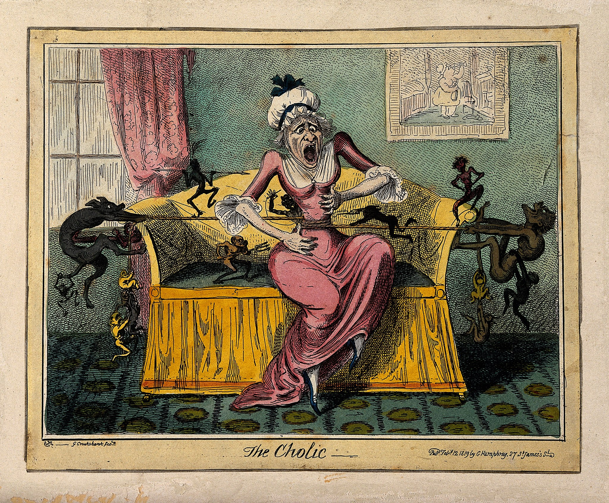 A woman suffering the pain of cholic; illustrated by demons Wellcome V0010874