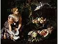 Abraham Brueghel and Nicola Vaccaro - Still life with a young woman.jpg