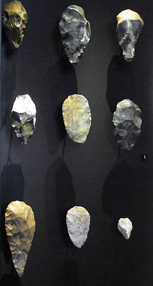 Prehistoric Europe - Acheulean hand axes and hand axe-like implements, flint, 800 000 - 300 000 BP
